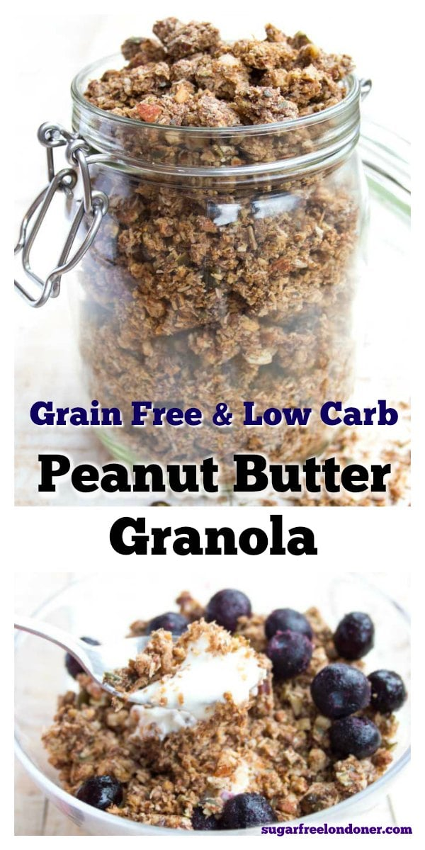 The perfect breakfast for peanut butter lovers! This healthy grain free granola has deliciously crunchy clusters. Even better, it's low carb and sugar free.  #granola #sugarfree