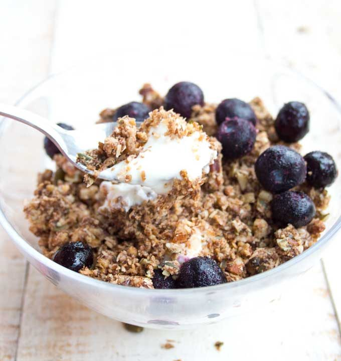 a bowl of grain free peanut butter granola
