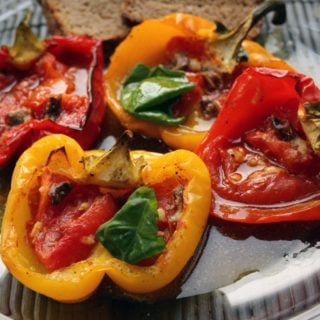 roasted pepper halves filled with tomato and basil