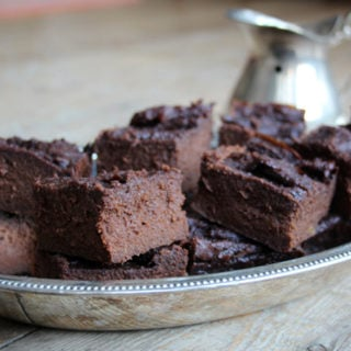 sweet potato brownie squares in a tray