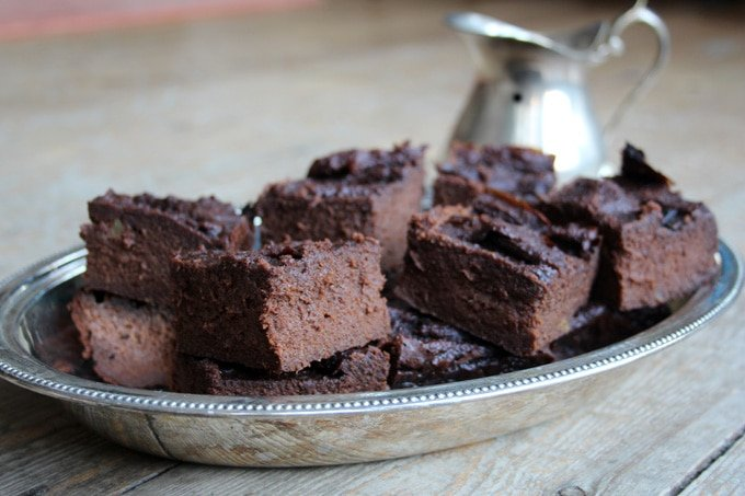 A tray with sweet potato brownies