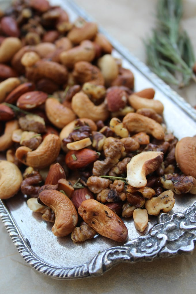 Healthy Homework Helpers and perfect with a glass of something: Rosemary Roasted Nuts make a great sugar free snack