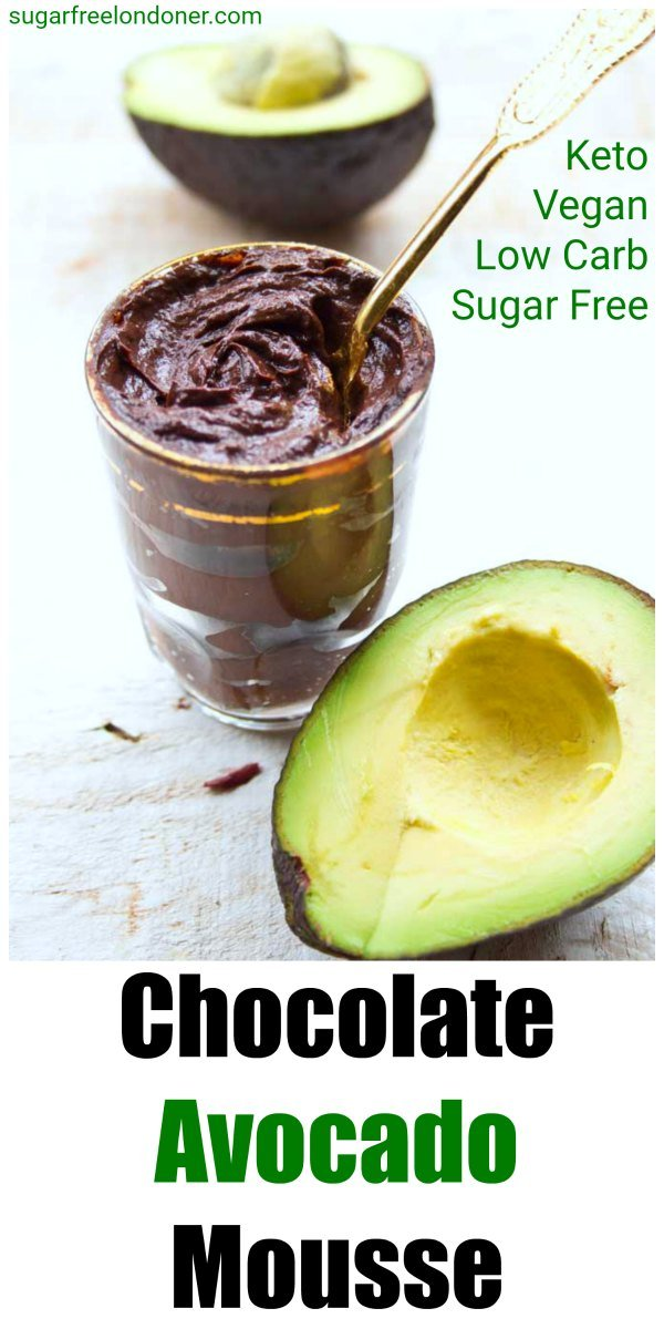 Chocolate avocado mousse is not only a super-easy dessert that comes together in minutes, it's also impossibly delicious! This sugar free Keto chocolate avocado pudding is creamy, silky and nutritionally dense. You cannot taste the avocado AT ALL! Vegan, low carb and suitable for diabetics. #avocado #chocolatemousse #sugarfree