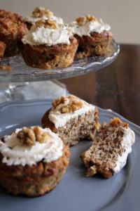 healthy carrot cake muffins with cream cheese frosting