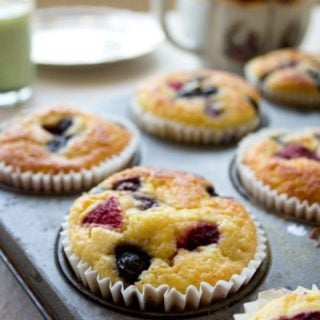 low carb muffins with berries in a muffin tin