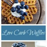 low carb waffles on a wooden board topped with blueberries, yoghurt and a fork