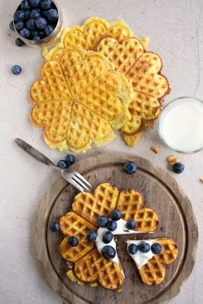 overhead view of low carb waffles on a table