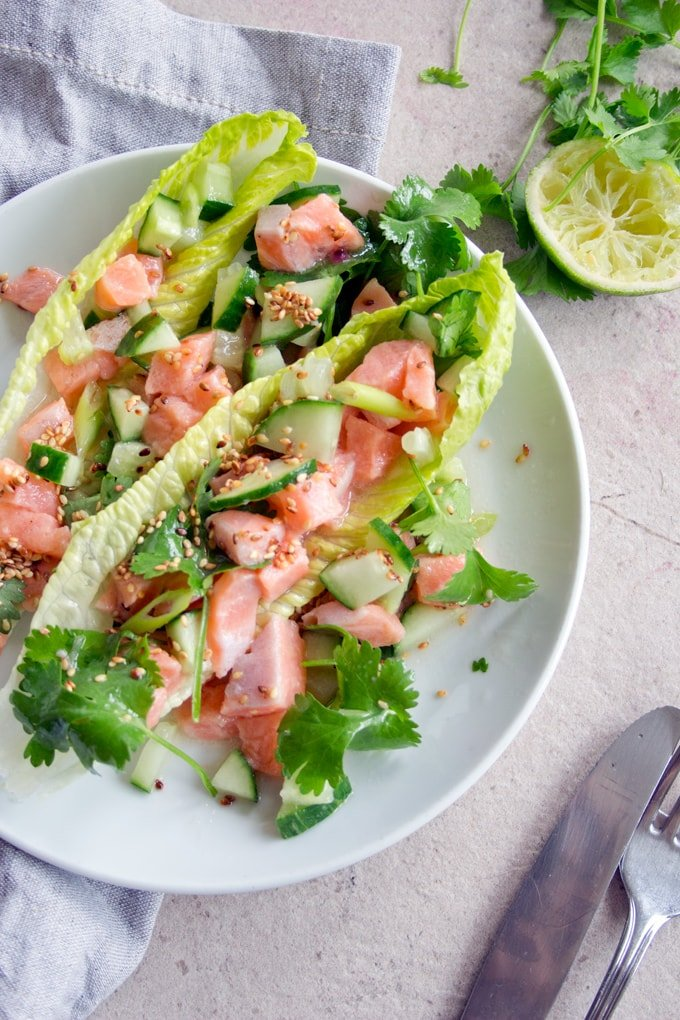 salmon ceviche on a plate with lime