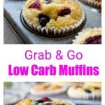 almond flour muffins with berries in a muffin tin and a muffin in a paper case on a plate