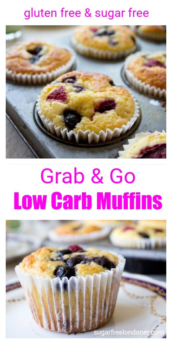 Grab & Go low carb muffins are a gluten free and sugar free breakfast choice, perfect for busy mornings. They can be made ahead and freeze well. #lowcarb #sugarfree #diabetic #keto #grainfree #LCHF #muffins #breakfast #healthyrecipe