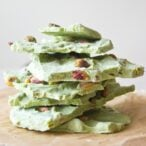 a stack of matcha frozen yogurt bark pieces