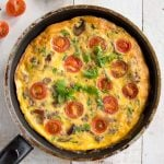 a frittata in a frying pan