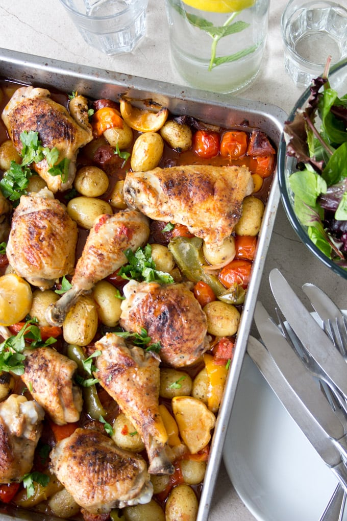A super-easy one pot wonder. Seasoned with a generous amount of paprika, this fiery Spanish chicken and chorizo tray bake lets you kick up your flamenco heels and enjoy the fiesta.