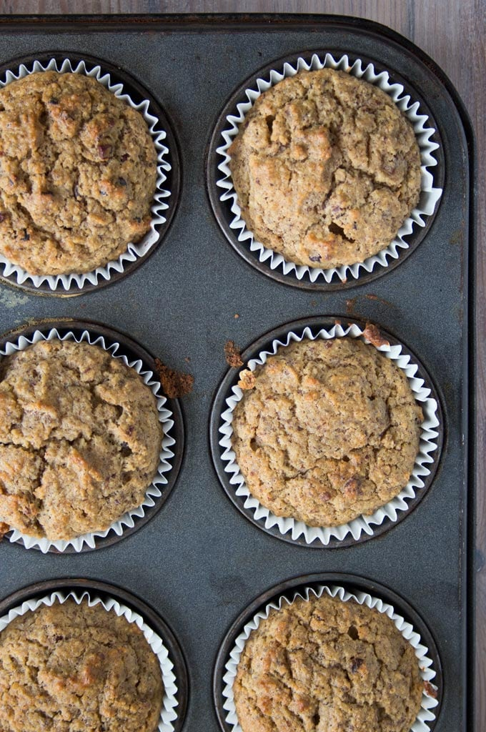 a balking tray with low carb chocolate banana muffins