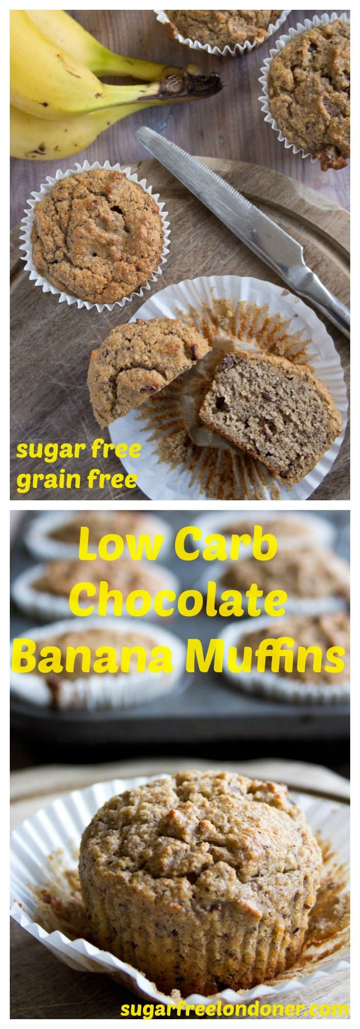 A fabulously healthy treat: These delicious Low Carb Chocolate Banana Muffins are grain free, sugar free and seriously nutrient-dense. This is feel-good snacking taken to the next level. #lowcarbmuffins #lowcarb #sugarfree #breakfastmuffins