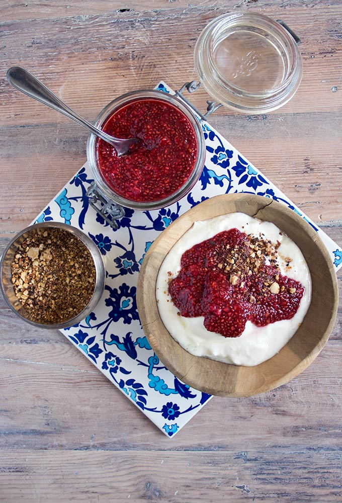 sugar free raspberry jam on yoghurt