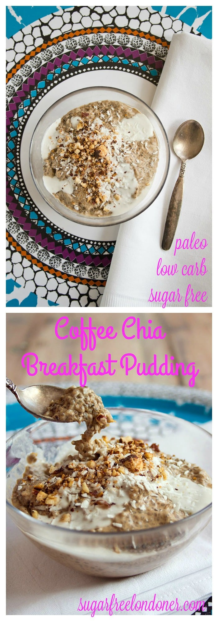 Easy to make and intensely delicious: Prepare this coffee chia breakfast pudding in advance and enjoy it the next morning. A sugar free, low carb, vegan and gluten free breakfast. #lowcarb #sugarfree #chia