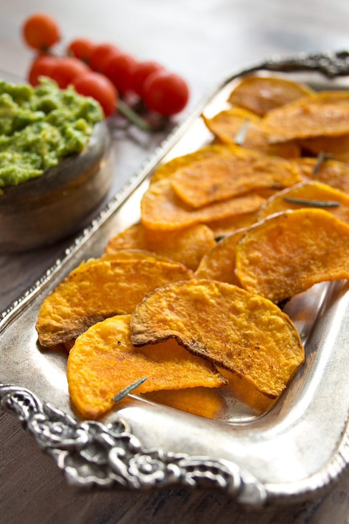 a tray with butternut squash chips