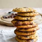 A stack of low carb chocolate chip cookies on a table