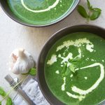 2 bowls with spinach mint soup