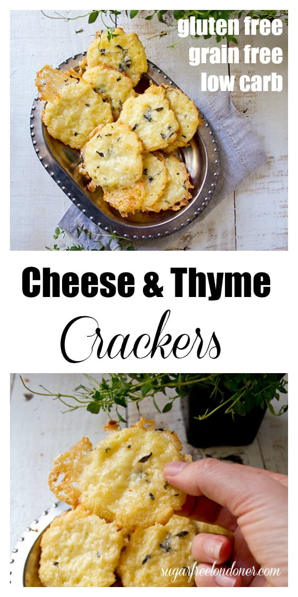 Crunchy and incredibly cheesy: These gluten free and low carb cheese thyme crackers are made with coconut flour. Perfect as a satiating snack or as a grain free side for a salad or soup. #lowcarbcracker #lowcarbsnack
