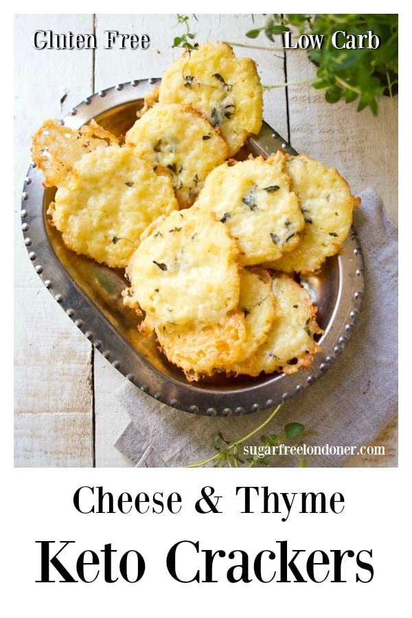 This easy Keto crackers recipe is made with coconut flour and topped with sharp cheddar and fragrant, fresh thyme. A satiating, delicious low carb snack! Great with soups and salads, too. #ketocrackers #lowcarbcrackers #lowcarbsnack #cheesycrackers