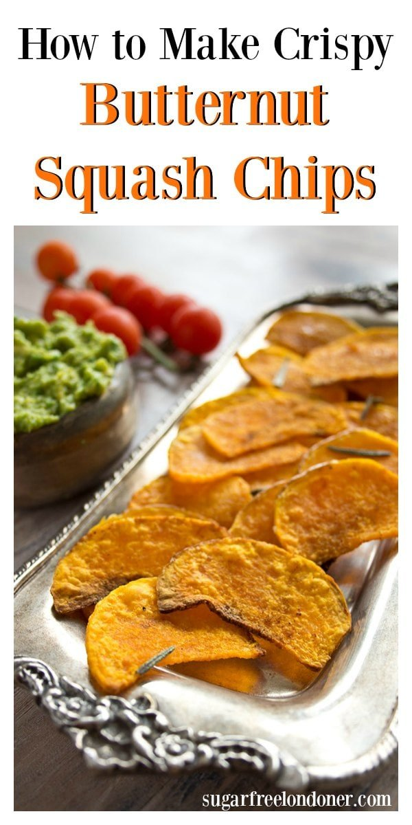 A delicious and healthy snack: Butternut squash chips are a tasty, low carb alternative to potato chips. #butternutsquash #appetizer #lowcarb #chips