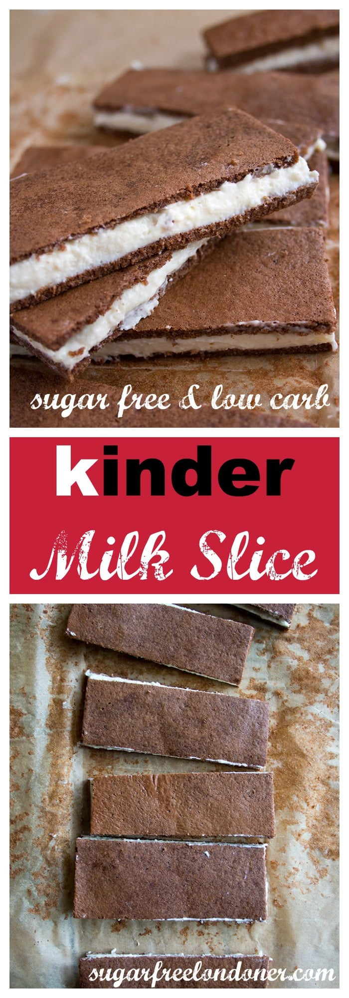 In Germany it's called Milchschnitte, in its home country Italy it's Fetta al Latte. You'll love this  sugar free and low carb version of the European cult snack bar kinder milk slice! Delightfully soft chocolate sponge with a creamy, milky centre - a sweet snack without the carb load. #sugarfree