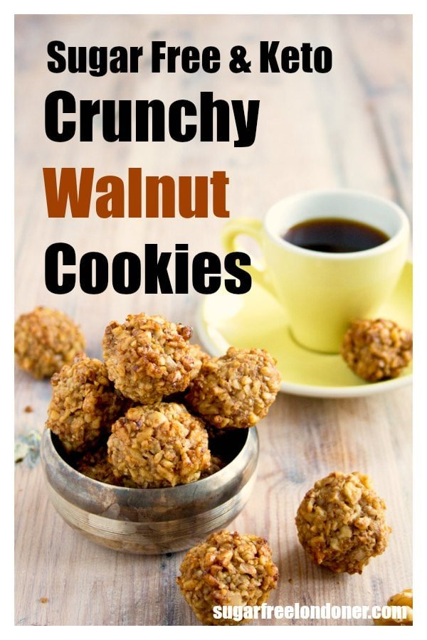 Sugar free, low carb and gluten free cookie heaven: These walnut cookies are a super healthy take on the Italian classic Dolci di Noci. Perfect for the Keto diet and for diabetics. A super easy cookie recipe! #sugarfreecookies #walnutcookies