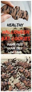 Tasty bats straight out of hell: These healthy chocolate Halloween bat cookies are sugar free, grain free, low carb and drizzled with an indulgent chocolate glaze.