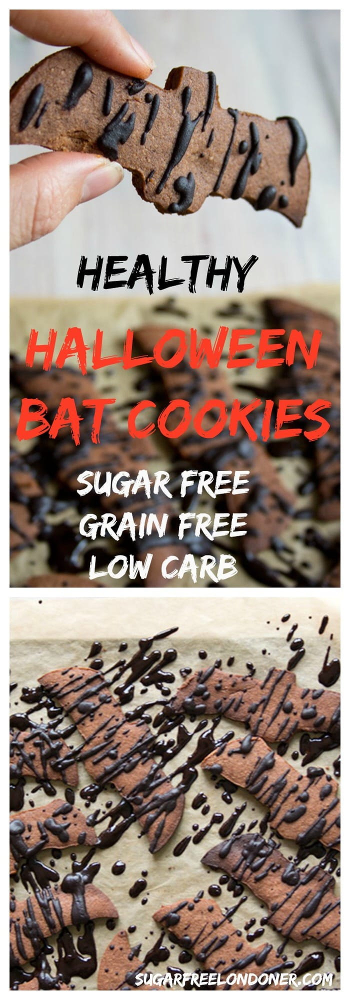 These easy Halloween cookies are sugar free, gluten free and drizzled with sugar free chocolate. A delicious, totally guilt-free cut-out cookie recipe that's perfect for low carb and keto diets and suitable for diabetics. #halloweencookies #halloweentreats
