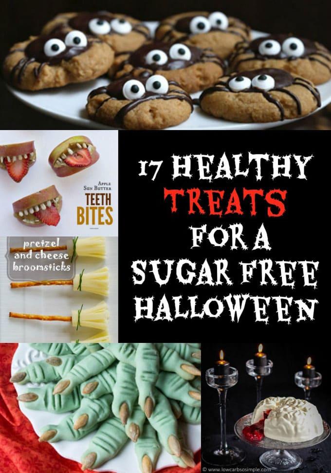 healthy halloween treats collage