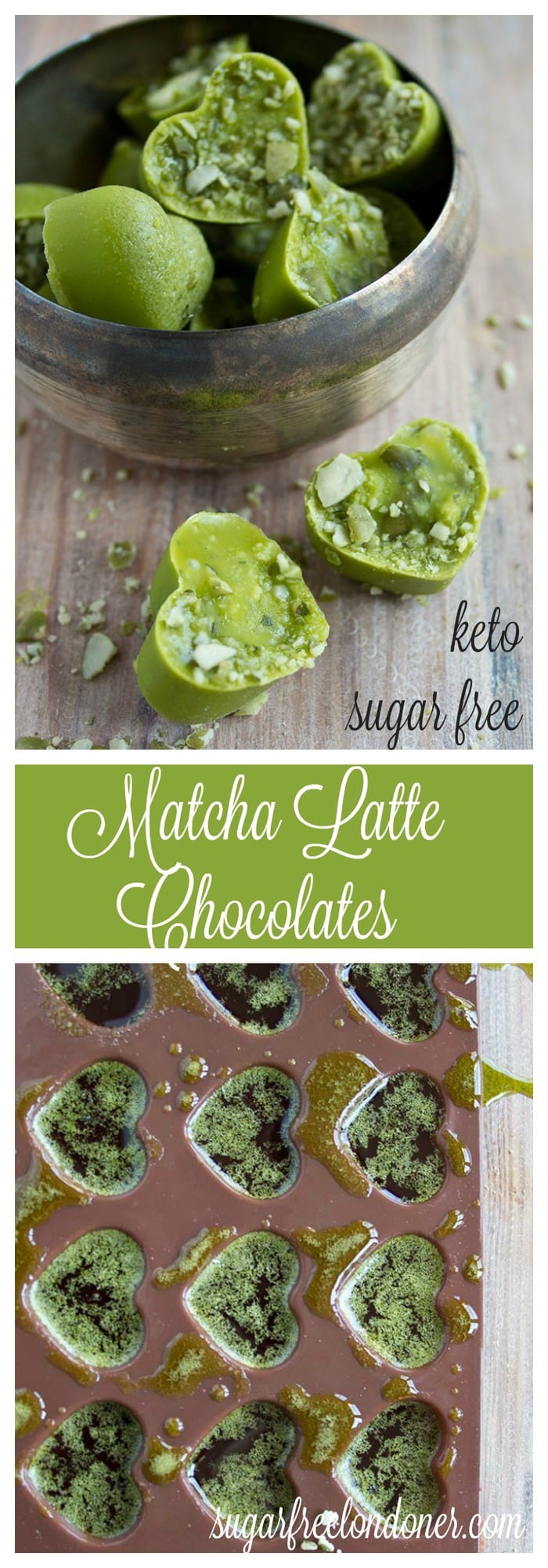 A delicious and easy keto green tea chocolate treat: These matcha chocolates are not only bursting with antioxidants, they're sugar free, too! #matcha #chocolate #sugar free #lowcarb
