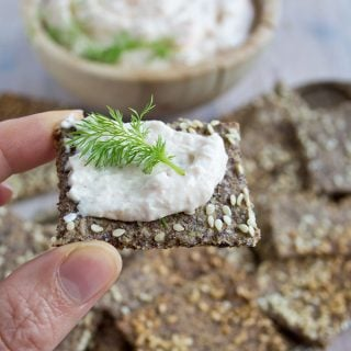 sesame flax cracker with dip