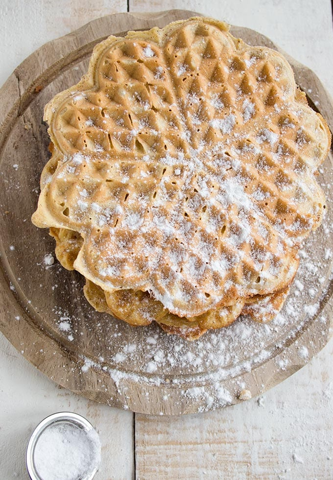 a stack of almond butter coconut flour waffles