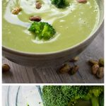 two bowls of broccoli soup and a vitamix with broccoli florets