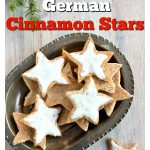 german cinnamon star cookies with sugar free sweetener icing on a tray
