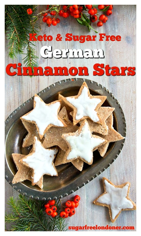 Deliciously spiced almond flour Keto cookies - possibly my favourite sugar free Christmas treat!  Cinnamon Stars (Zimtsterne) are traditional German Christmas cookies, adapted to suit a low carb, Keto diet.  #christmascookies #ketocookies