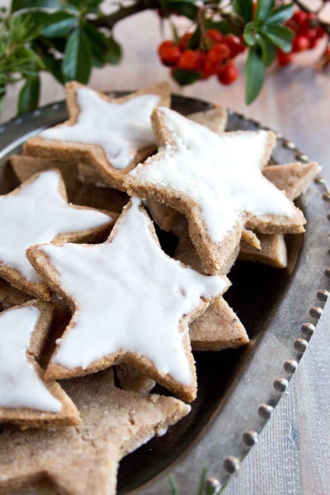cinnamon star cookies with a sugar free sweetener glaze