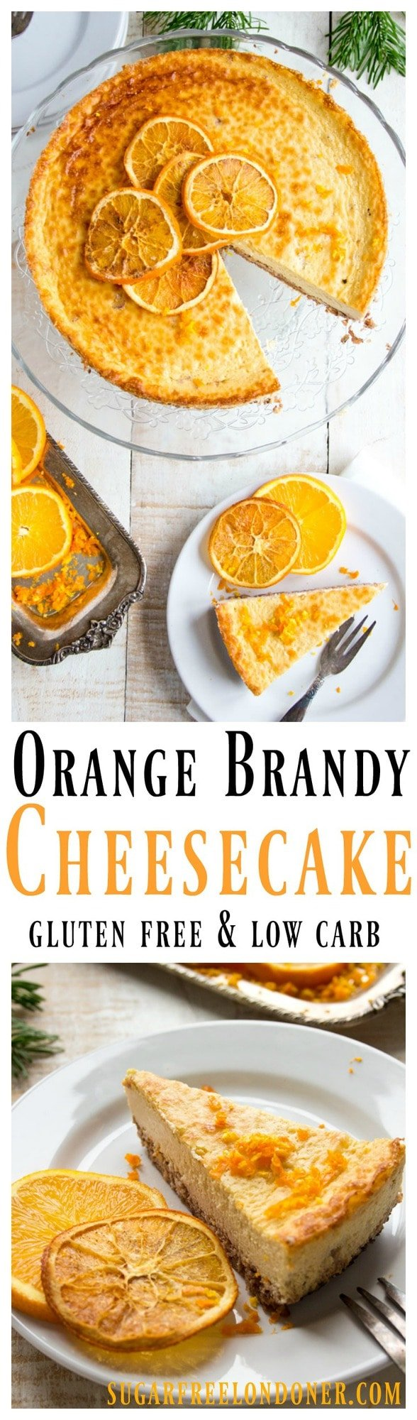 A showstopper cake to crown a festive meal or mark a special occasion: This spiced orange brandy cheesecake is sugar free, low carb and gluten free