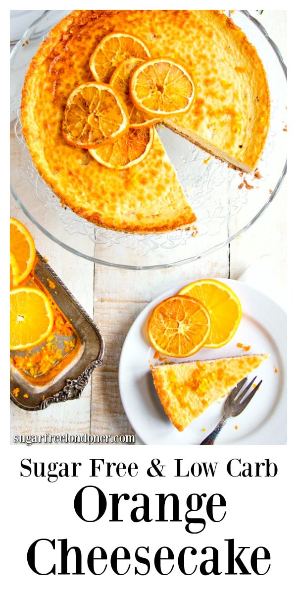 A showstopper cake to crown a festive meal or mark a special occasion: This rich and creamy spiced orange cheesecake with brandy is sugar free, low carb and gluten free. Guilt free dessert heaven. #sugarfree #cheesecake #lowcarb