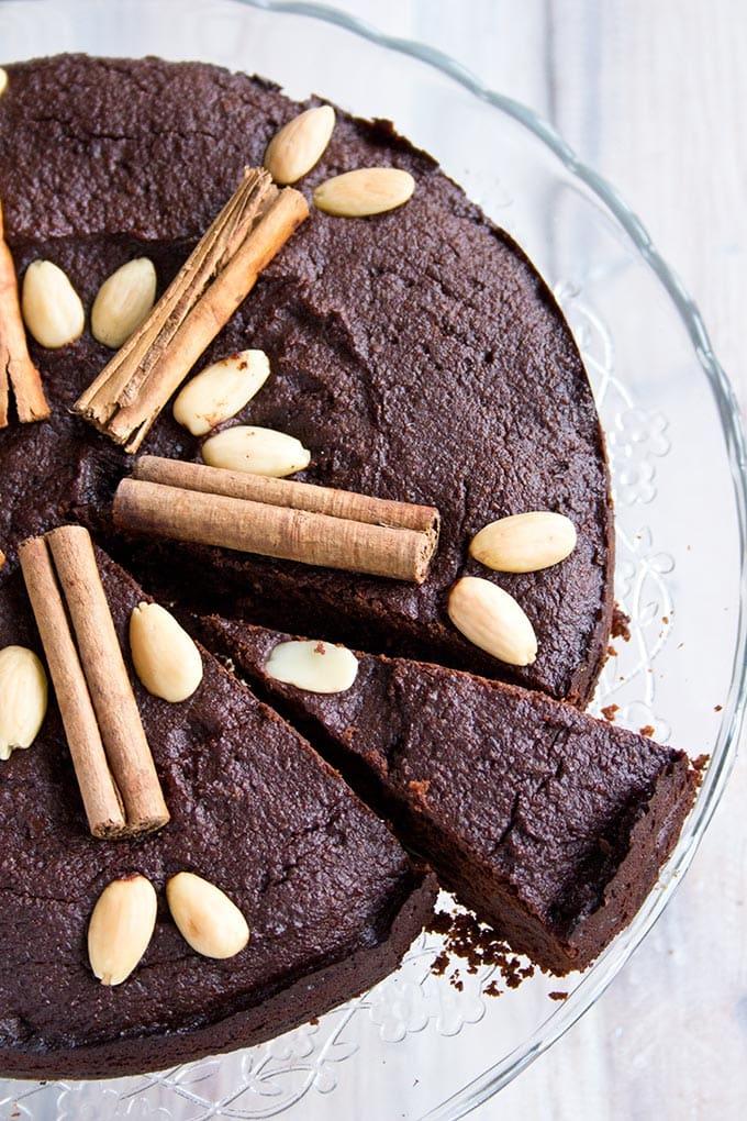 A slice of chocolate Christmas cake