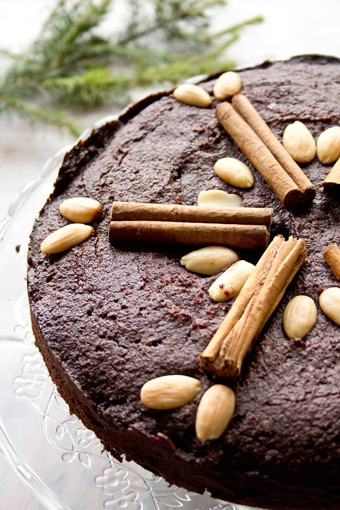 A flourless chocolate torte with Christmas decoration