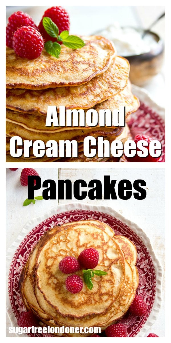 Light and fluffy Keto pancakes! These almond cream cheese pancakes are naturally gluten free and low carb. Try this easy low carb pancake recipe - a healthy and delicious sugar free breakfast choice. #pancakes #lowcarb #glutenfree #sugarfree #keto