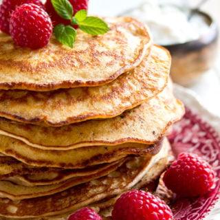 a stack of keto pancakes