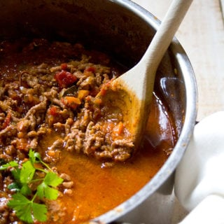 Bolognese sauce - a family favourite that is loaded with hidden veggies. This sauce is the essential ingredient in a variety of dishes, from vegetable lasagne to child con carne!