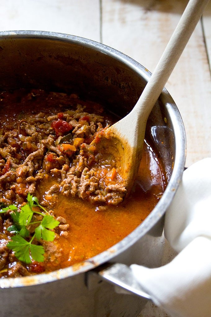 low carb bolognese sauce in a pot with a spoon