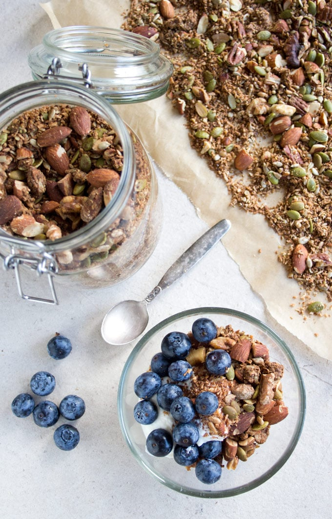 Peanut Butter Granola - a sugar free, glten free and low carb breakfast choice