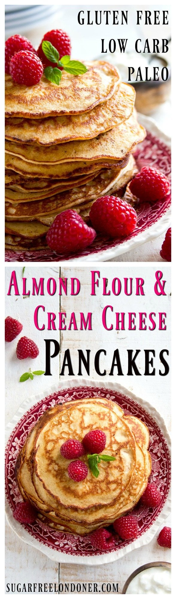 Light and fluffy pancakes that are low carb, gluten free and so easy to make: These Almond Cream Cheese Pancakes are a healthy sugar free breakfast choice. #pancakes #lowcarb #glutenfree #sugarfree #keto #breakfast
