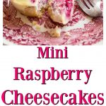 mini raspberry cheesecakes on a plate